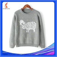 Wholesale Women High Quality Linen Sweater Female Round Neck Long Sleeve Pullover Sweater Llama Sweaters