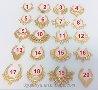 2015 hot all gold plated 14G 3/8'' Fake Non Piercing clip on faux nose ring septum fake/faux septum ring