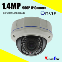 Video surveillance cameras onvif 960p 1.4mp clear night vision network excellent image 30pcs leds zoom ip cmos sony dome camera