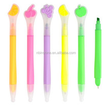 Promotional fruit cap ball pen with highlighter , dual promotion pen