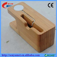 Wood Stand For Apple Watch and Mobile Phones With Cable Groove and Holes For Charging