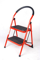 Folding Lightweight Step Ladder, Step Stool 2 Steps White Red and Sliver