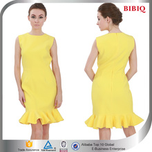 Simple Sleeveless Frill Dress Yellow ,Short Office Ladies Dresses