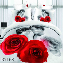 Hot sale elegant red rose printed designs 100% cotton 3d bridal bed cover