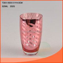 525ml silver and red colored glass cup for home decor or glass vase
