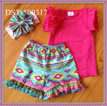 2015Yiwu Yawoo Boutique Girl's Cotton Outfit Kids Casual Clothing Set Summer Baby Outfit Tank Top With Ruffle Short Set For Kids