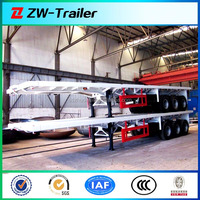 Tri-axles flatbed semi or truck trailers for sale for container transportation