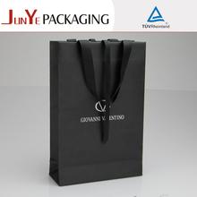 personalizado de marca de lujo lazo de la cinta de papel de regalo bolsa para la ropa