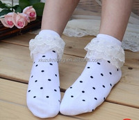 white cotton full of black dots sexy young girl short socks with double lace