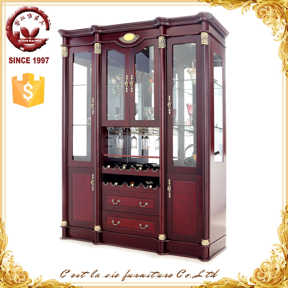 living room antique wooden wine cabinet glass display cabinet