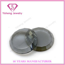 20mm Round Buff Top Faceted Crown Flat Back Glass Stone