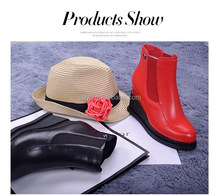 Autumn and winter women mainstream new Thick wedge bottom leather round toe comfortable ankle boots