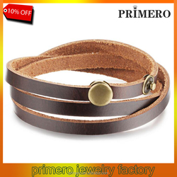 PRIMERO Brand Fashion New 2015 Three Layers Real Leather silver Bracelets Classical Full Steel Buttons Mens Jewelry Low Price