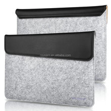 REYON Custom high quality PU leather flip cover Magnetic Button Felt Laptop Sleeve