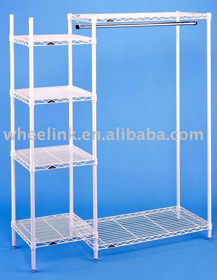 open garment rack side shelf tower view open garment rack. Black Bedroom Furniture Sets. Home Design Ideas