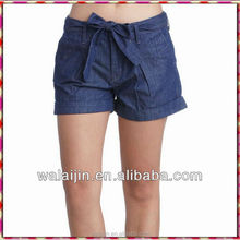 Ladies cool bow design jeans shorts