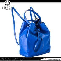 Wishche Comfortable Design Drawstring Bag Genuine Leather Bags China Supplier Women Leather Fashion Bucket Bag OEM Factory W0512