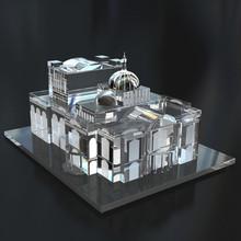 Custom crystal miniature building, crystal building construction, crystal building CBM-1001