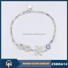 rhodium plated inlaying zircon 925 silver bracelet manufacturer