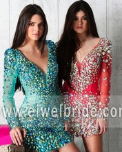DN06 Shining Gold Beaded Dark Blue Gown See Through Short Cocktail Dresses