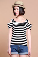 C23513A KOREAN STYLE LADY SWEET OFF SHOULDER TOPS