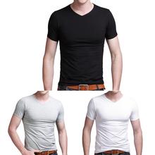 Hombres de algodón de color sólido v- cuello manga corta t- shirt apretado la acción slim
