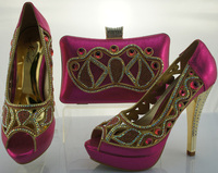 SB423 fushia color EUR size 38/39/40/41/42 message us which size you want ladies shoes and matching bags