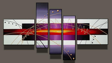 High grade perfect abstract magical light purple sun five groups oil Painting on Canvas for living room