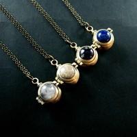 20mm quartz,coral ,lapis,amethyst steam punk ball vial locket antiqued bronze pendant charm choker necklace 6350418