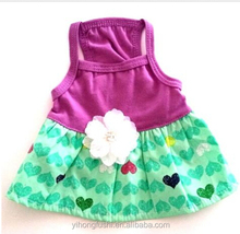 New Top Paw PURPLE GREEN HEART FLOWER Dog Dress patterns Pet Clothes sexy dog Costume