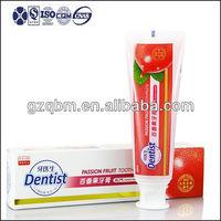 120g Dentist passion Fruit flavor aquafresh whitening Toothpaste OEM manufacturer