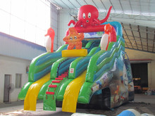 Inflatable ocean world trampoline combo with slide bouncer inflatable amusing ocean world trampoline combo