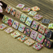 New Fashion square 16mm fancy 2-hole wood buttons multiple color painting MM-001