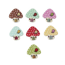 DMK1577 Lovely Mashroom House with Birds Printed Wood Button 23mm with 2 holes