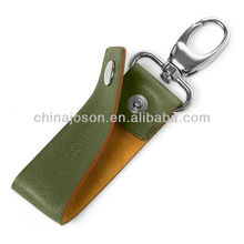 real leather keychain with name on it and stainless steel accents