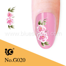 colorful chinese ink tattoo flower nail art designs