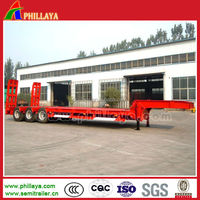 30-70ton 3 axle low bed truck semi trailers with spring ramp and flatbed drop deck from china trailer manufacturer supplier