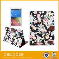 2015 Cowboy Flower Cloth Smooth Flip Stand PU Leather pad case With Card Slots Case For galaxy Tab S2