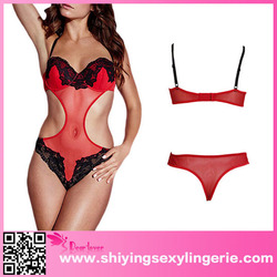 Super sexy design women transparent red beautiful contrast lace nude teddy lingerie