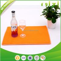 microfiber orange and blue stripe kitchen place mat with sponge filler