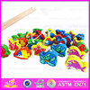 2015 Intellectual wooden magnetic kids fishing game toys,3D Magnetic Fishing Toy,Good quality wooden block fishing toy W01A011