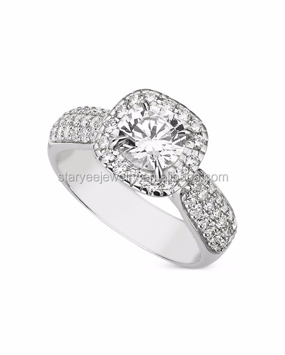 1 Carat Pure 18k White Gold Diamond Ring Jewelry Factory Price Buy Wedding