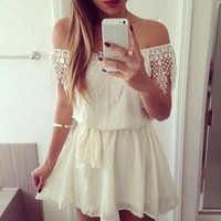 Fashion DressThe European and American one piece contracted a word collar lace Dress For Women