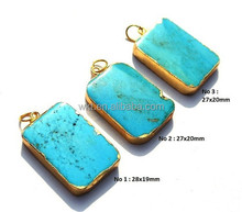 Gold Electroplated Edge Turquoise Rounded Rectangle Pendant, Gold Layered Single Bail Pendant, Gemstone Pendant WT-P203