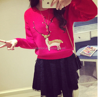 2015 Ladies Christmas ugly reindeer pullover sweater for women