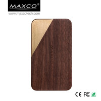 MAXCO unique nature cherry and walunt wooden power bank 8000mah, portbale external power bank for mobile phone
