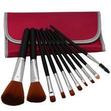 Vonira Professional 10 Pcs Makeup Make up Cosmetic Brushes Set Kit Eyeshadow Eyelash Eyebrow Lip Powder Blush Brush with Peach B