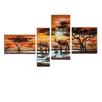 Home Wall Art Decoration African animal Elephant group oil painting for wall decoration