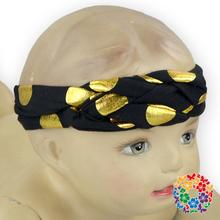 Fancy Gold Dot Braid Cross Knitted Headband Fold Over Elastic Hairband for Baby Girl Fabric Braid Cross headband wholesale