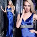 Barato de cuentas vestido de noche azul, de celebridades vestido de estilo, garantía de calidad!